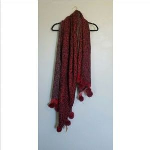 Do Everything In Love Wool Leopard Print Red Scarf